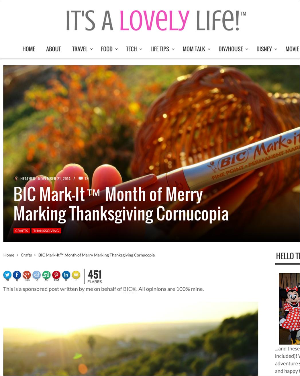 BIC Sponsored Blog Post Example