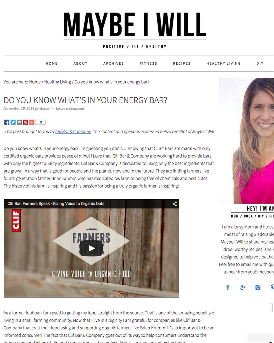 Clif Sponsored Blog Post