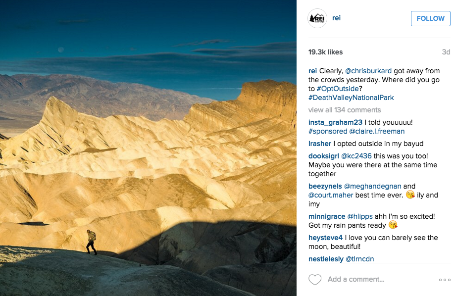 REI brand good example of informational social media post