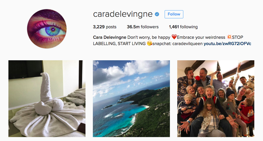 Cara Delevingne Instagram Influencer