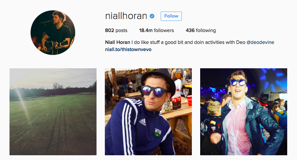 Niall Horan Instagram Influencer