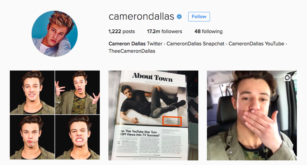 Cameron Dallas Instagram Influencer