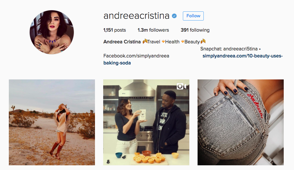 Andreea Cristina Instagram Influencer
