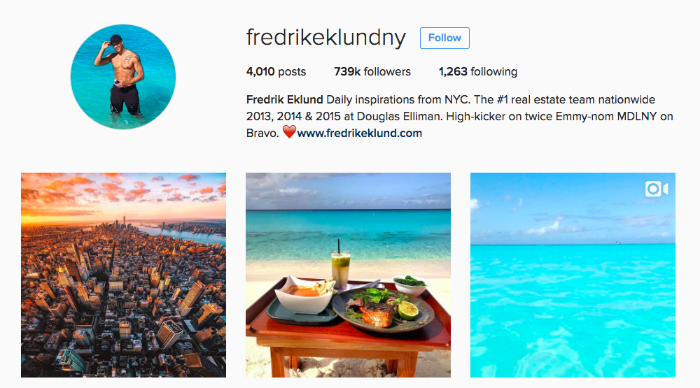 Fredrik Eklund Instagram Influencer