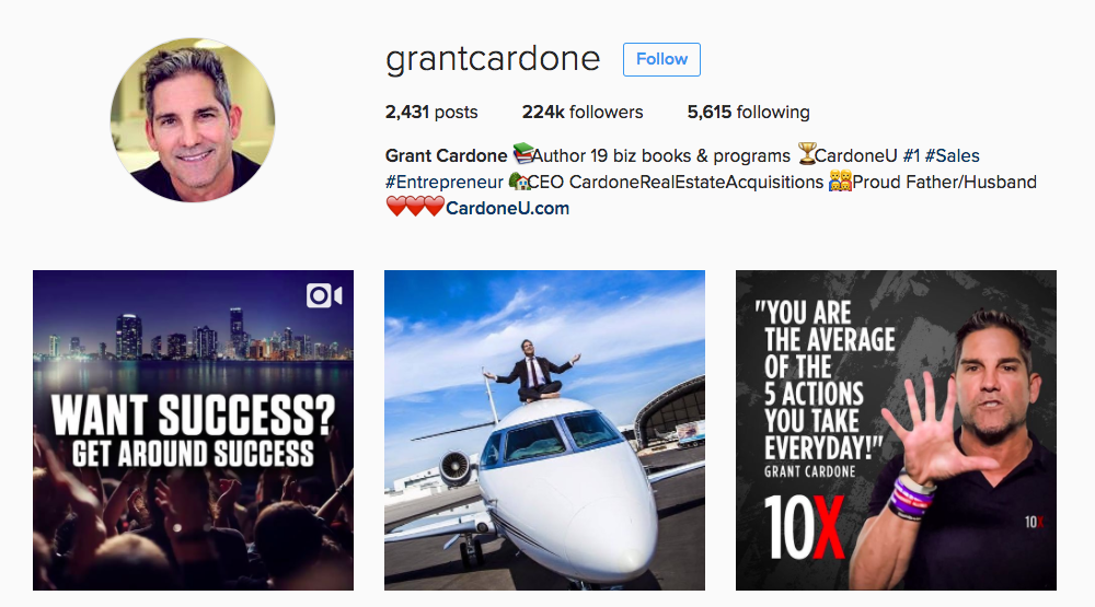 Grant Cardone Instagram Influencer