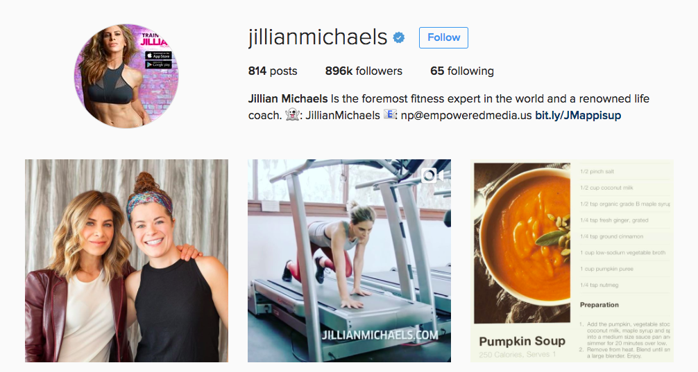 Jillian Michaels Instagram Fitness Influencer