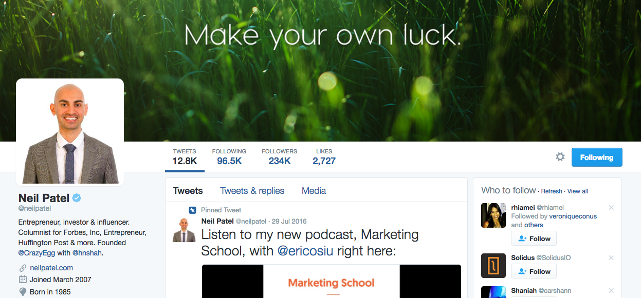 Neil Patel Entrepreneur Instagram Influencer