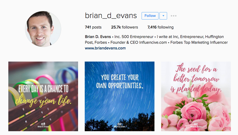 Brian D Evans Entrepreneur Instagram Influencer