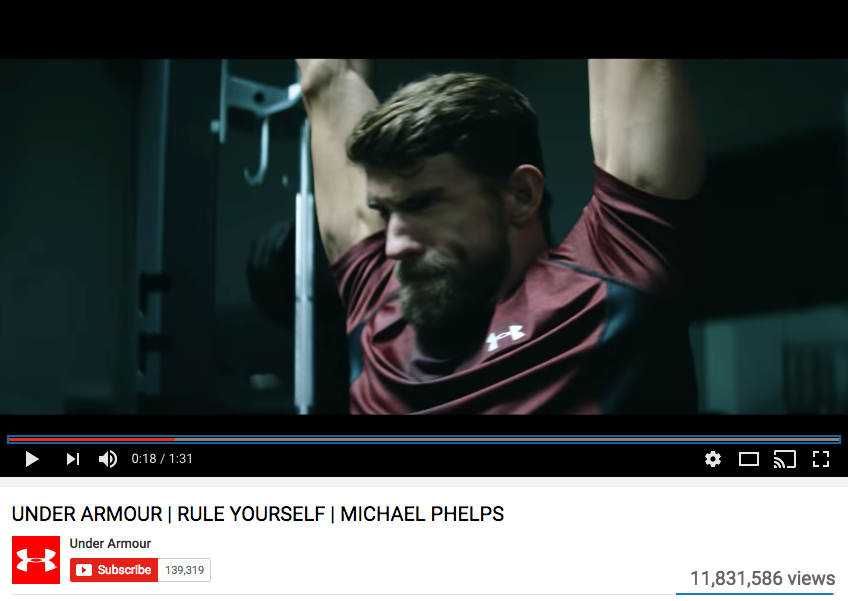 Michael Phelps Celebrity Endorsement for Under Armour.