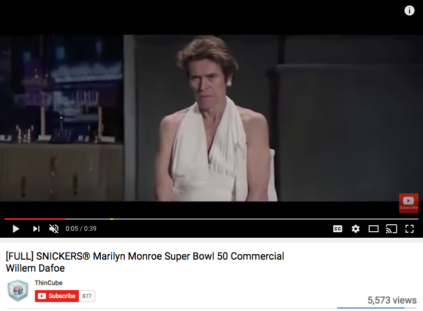 Willem Dafoe Celebrity Endorsement for Snickers