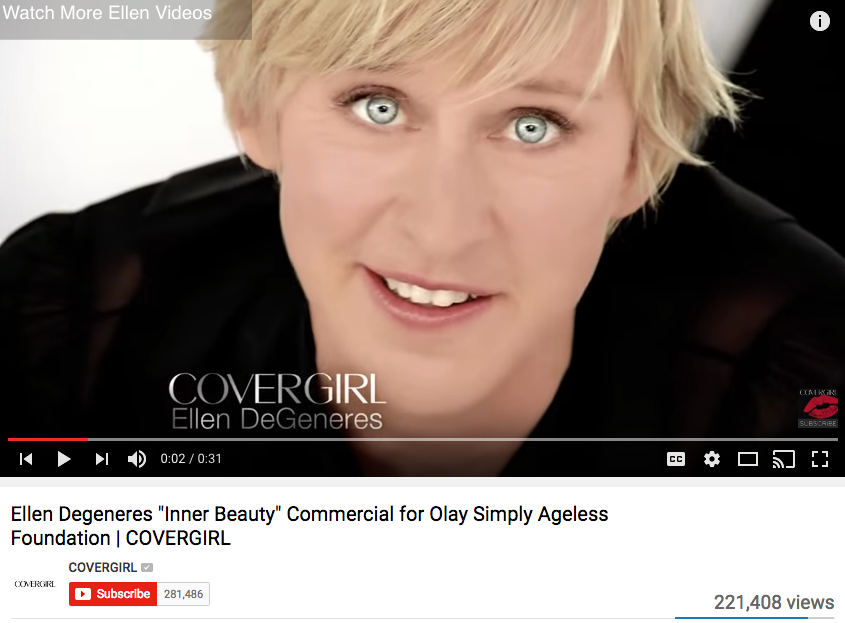 Ellen DeGeneres Celebrity Endorsement for Cover Girl