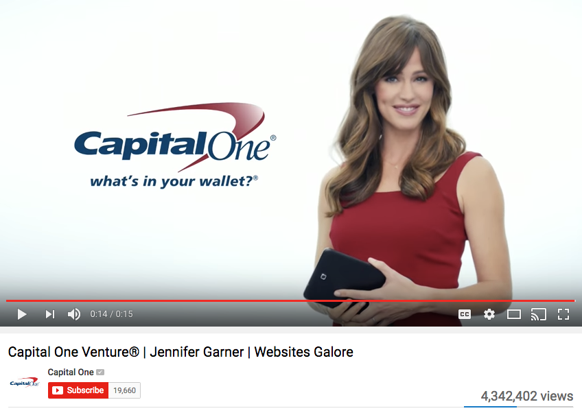 Jennifer Garner Celebrity Endorsement for Capital One